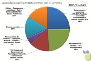 Graphique des dépenses budget COMPA 2020